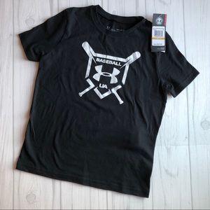 UA boys' YSM black baseball t-shirt NWT